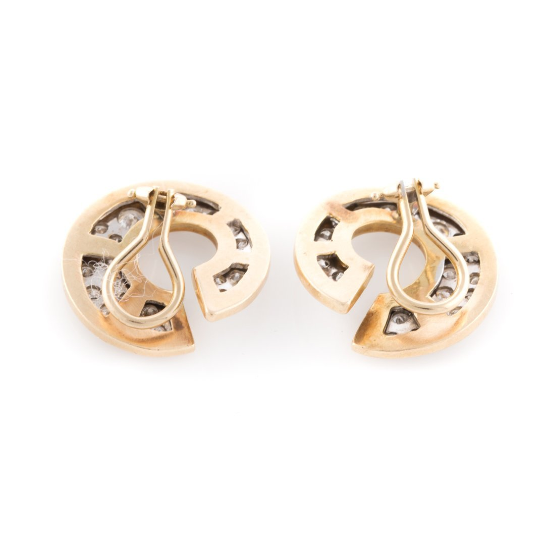 A Pair of Lady's Pave Diamond Open Circle Earrings - 3