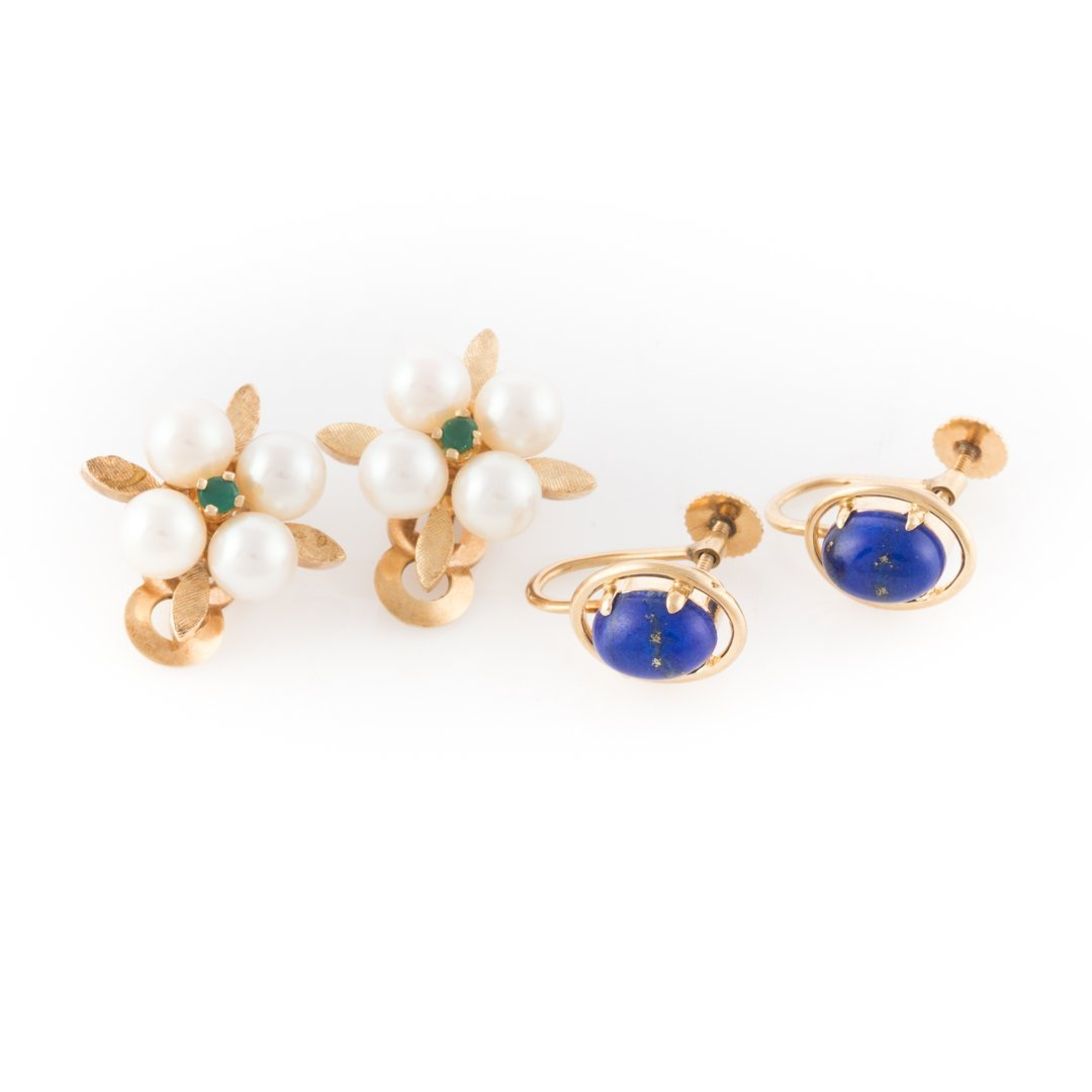 Two Pair of Earrings in 14K Yellow Gold