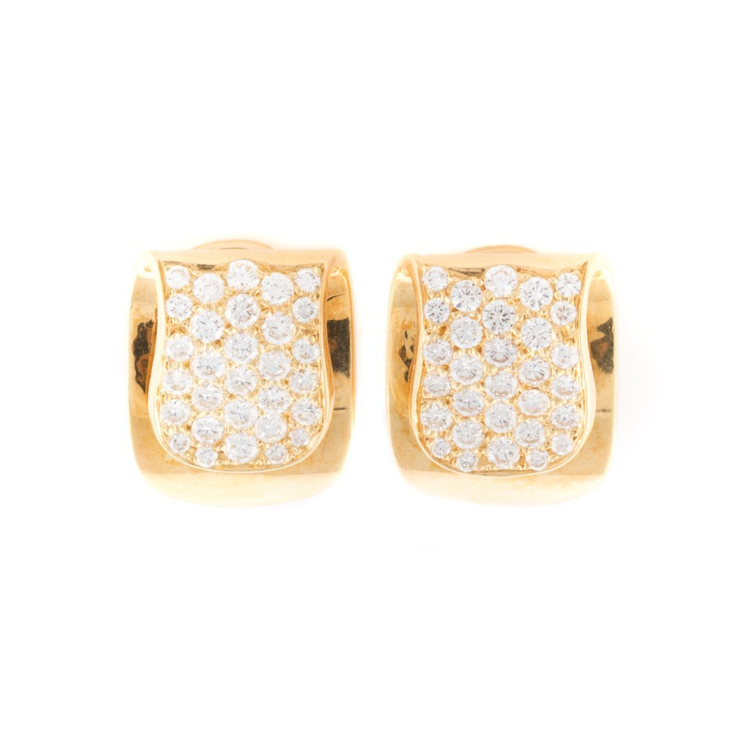 A Pair of 18K Pave Diamond Clip Earrings