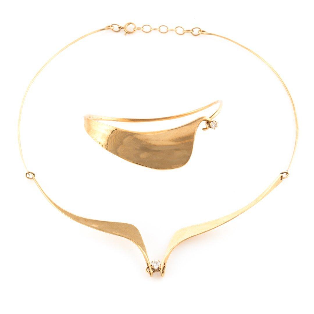A Gold & Diamond Contemporary Necklace & Bracelet