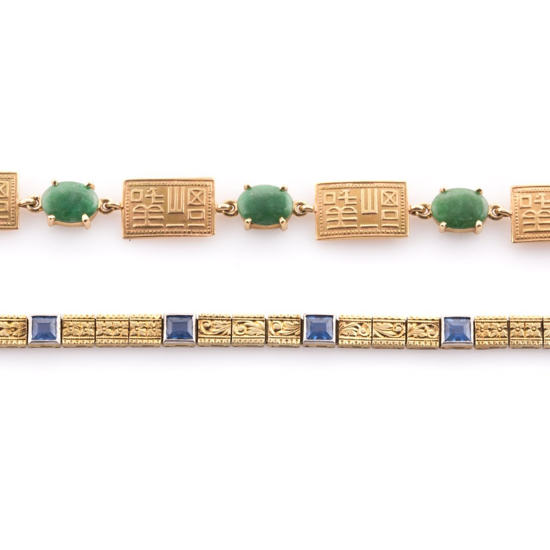 Two Lady's Bracelets with Jade & Sapphires in 14K