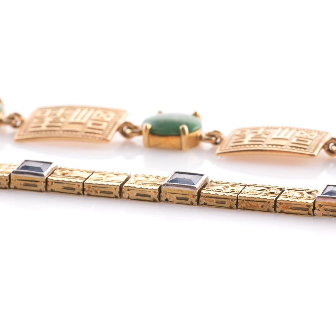 Two Lady's Bracelets with Jade & Sapphires in 14K - 3