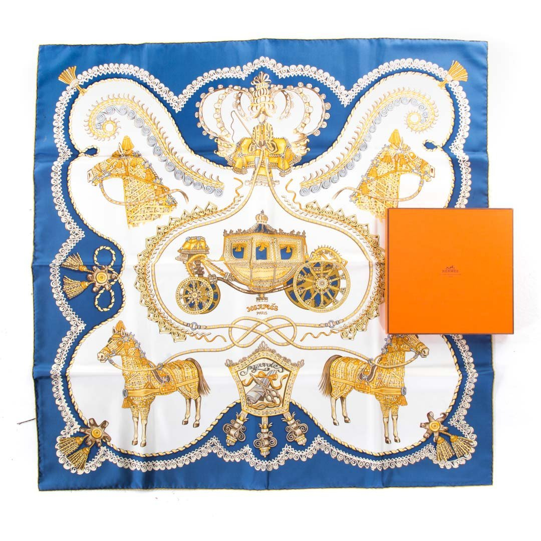 """Authentic """"Paperoles"""" Silk Scarf by Hermès"""