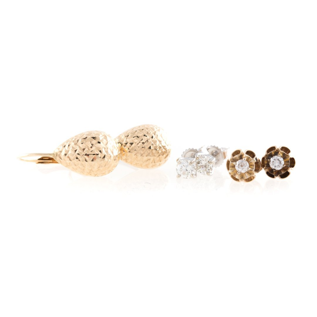 A Trio of Lady's Earrings with Diamond Studs