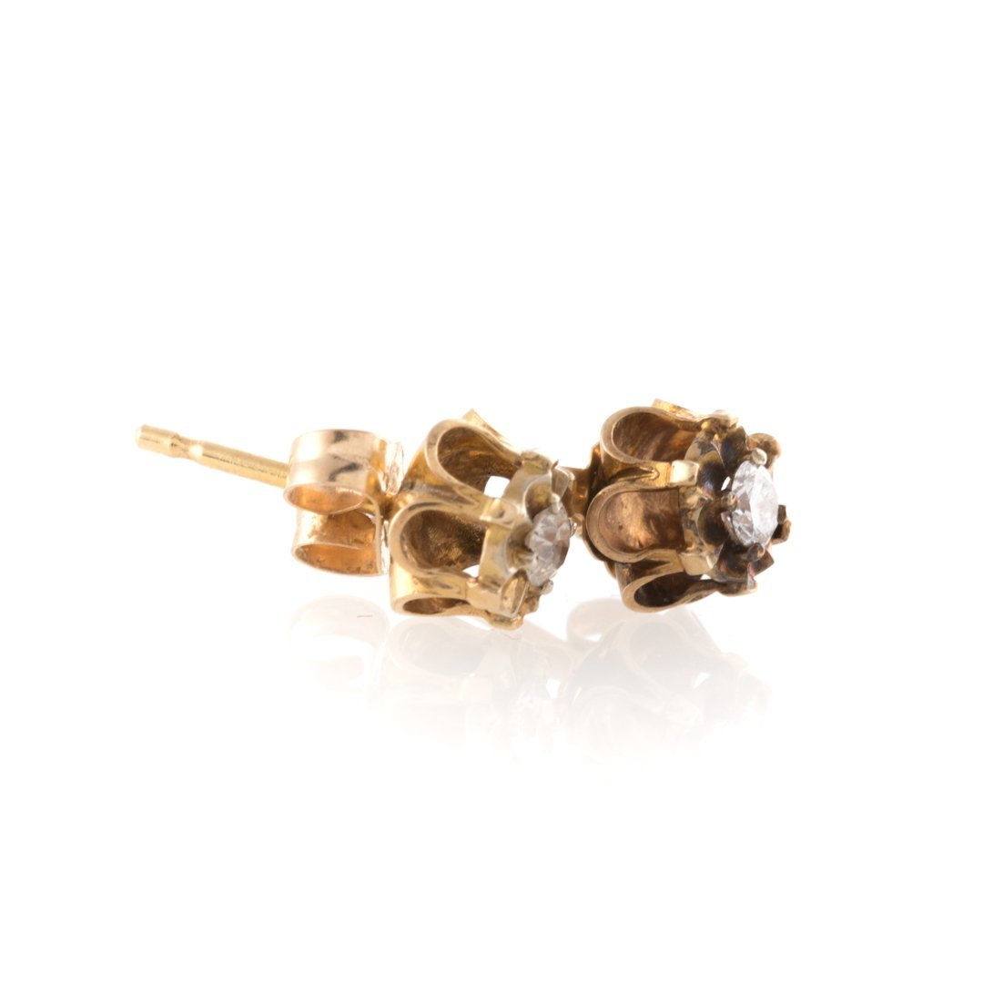 A Trio of Lady's Earrings with Diamond Studs - 4