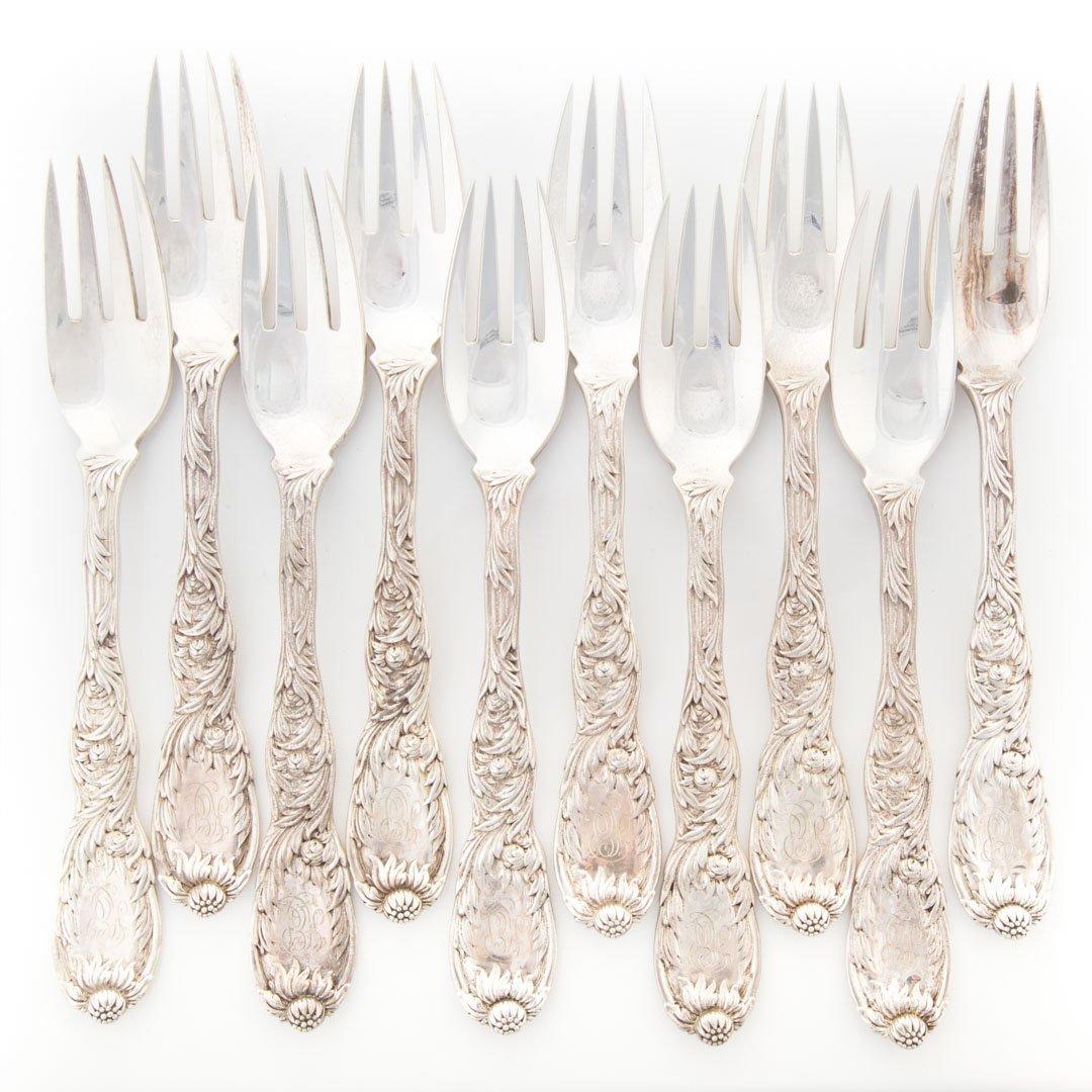 "Ten Tiffany ""Chrysanthemum"" sterling fish forks"
