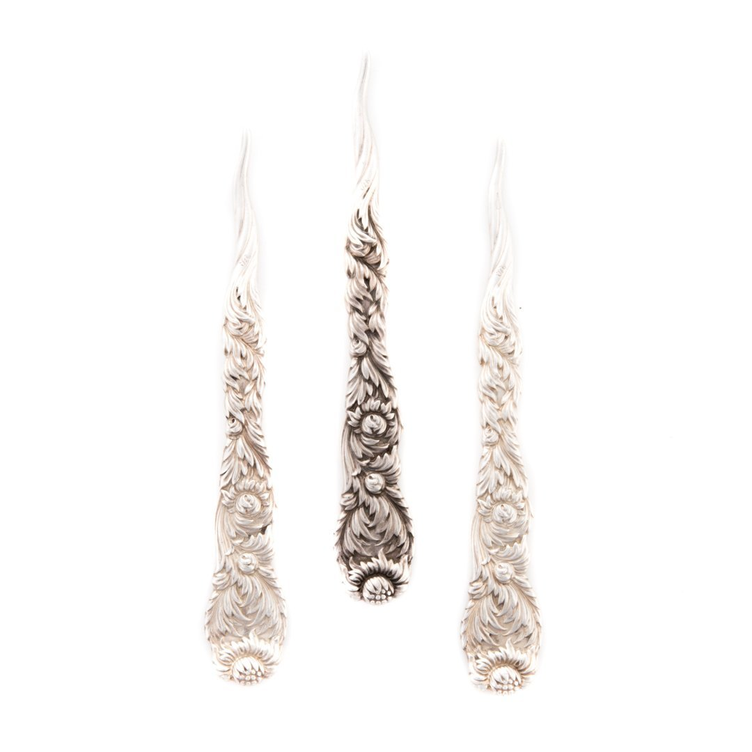 "Rare Tiffany ""Chrysanthemum"" sterling nut picks"