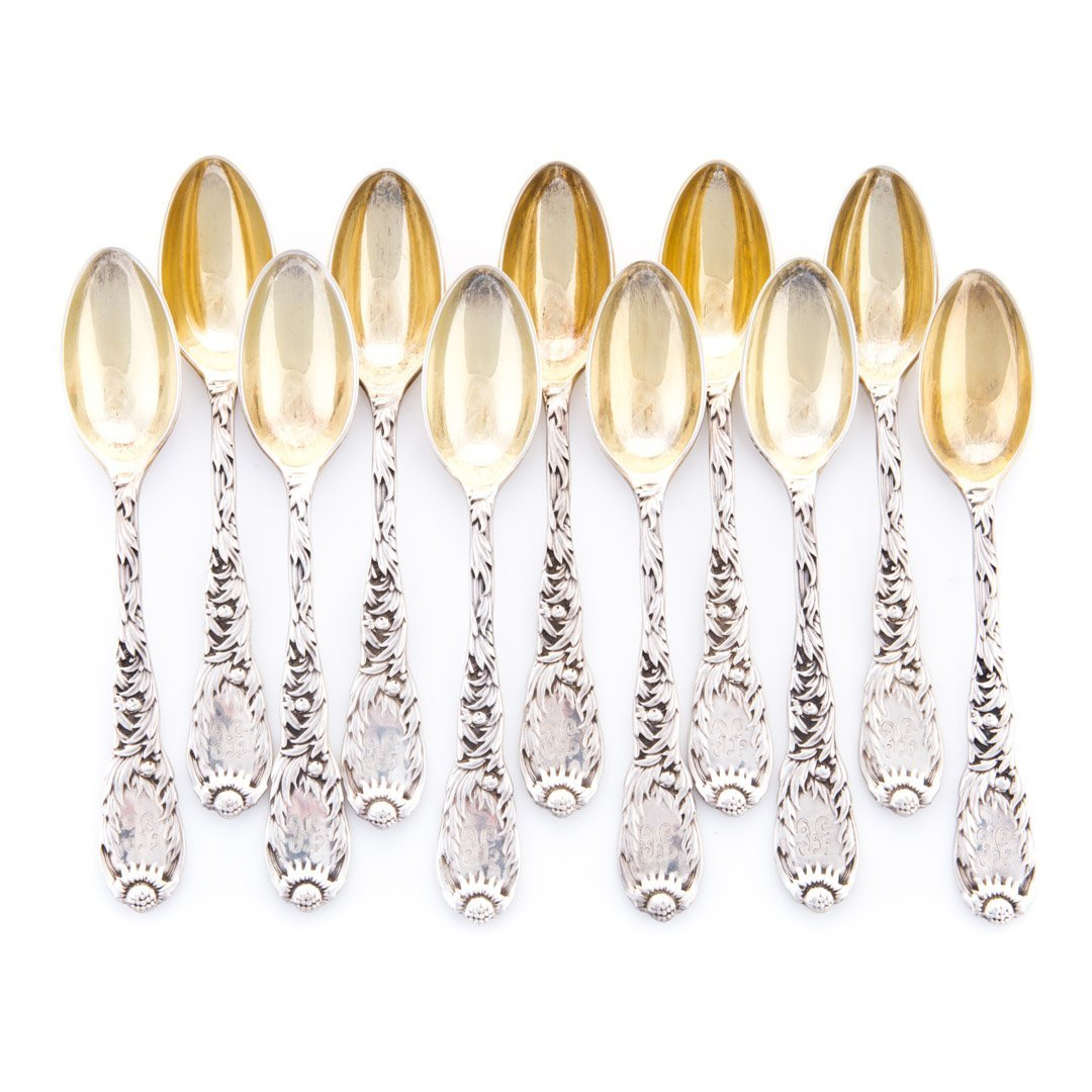 """Tiffany """"Chrysanthemum"""" sterling demitasse spoons"""