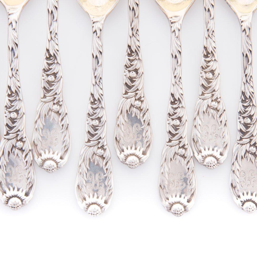 """Tiffany """"Chrysanthemum"""" sterling demitasse spoons - 2"""