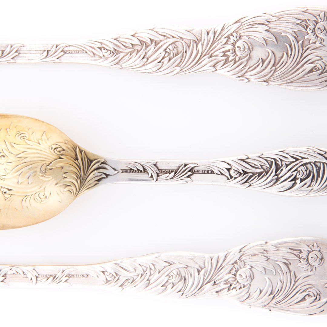 "3 Tiffany ""Chrysanthemum"" sterling serving spoons - 5"