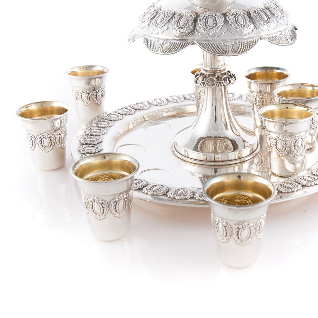 Judaica Masorett sterling Kiddush cup fountain - 3