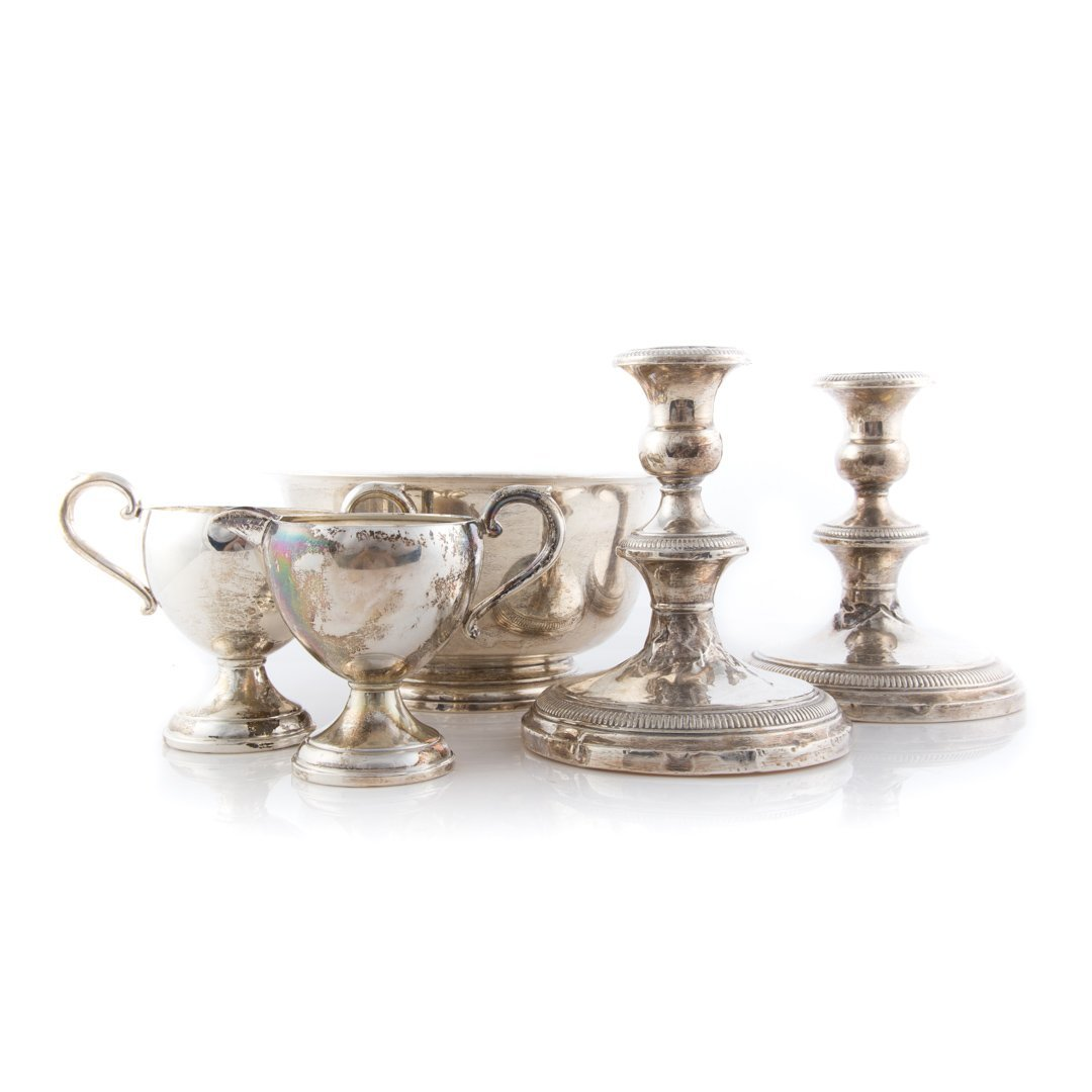 A group of sterling silver table articles