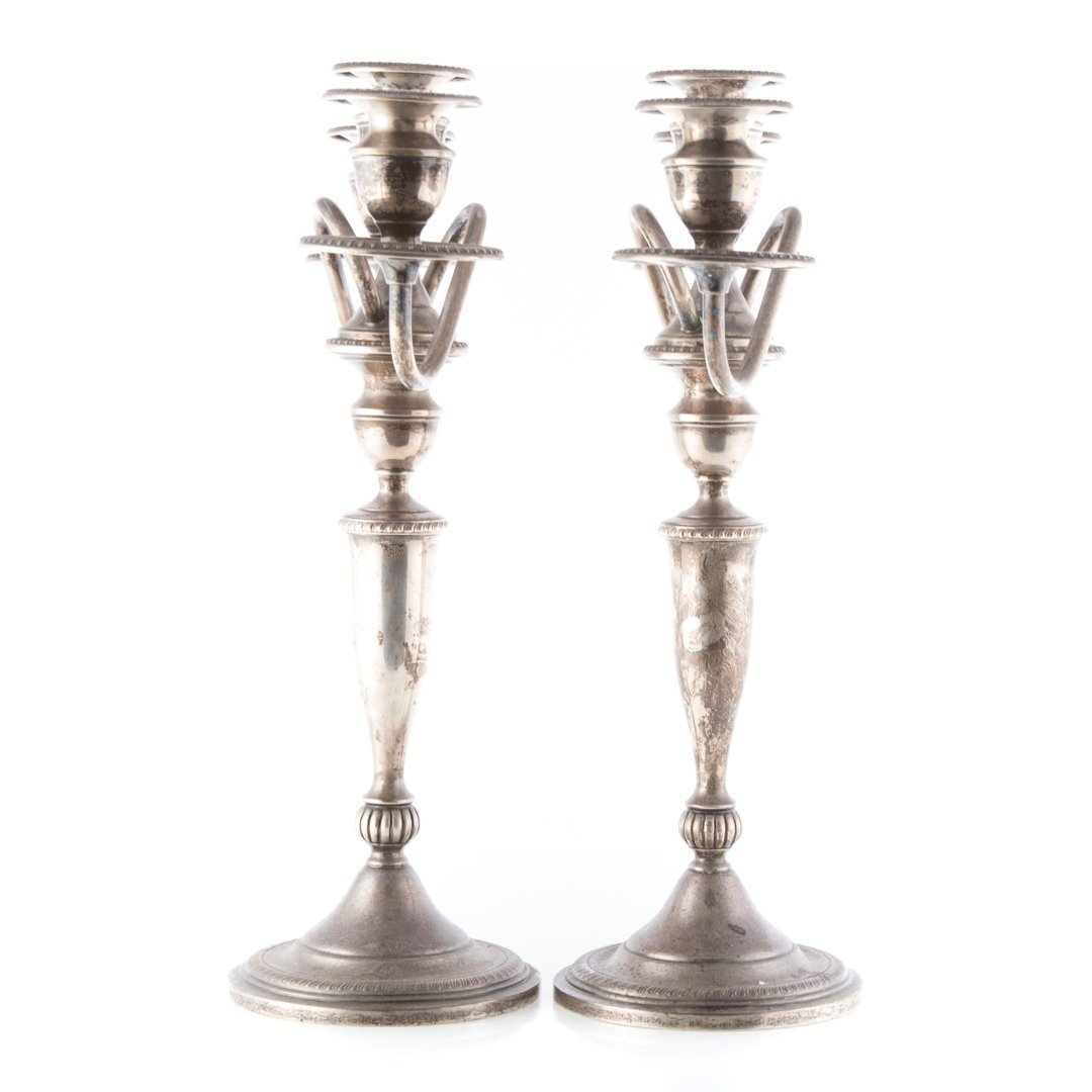 Pair of weighted sterling 3-light candelabra - 2