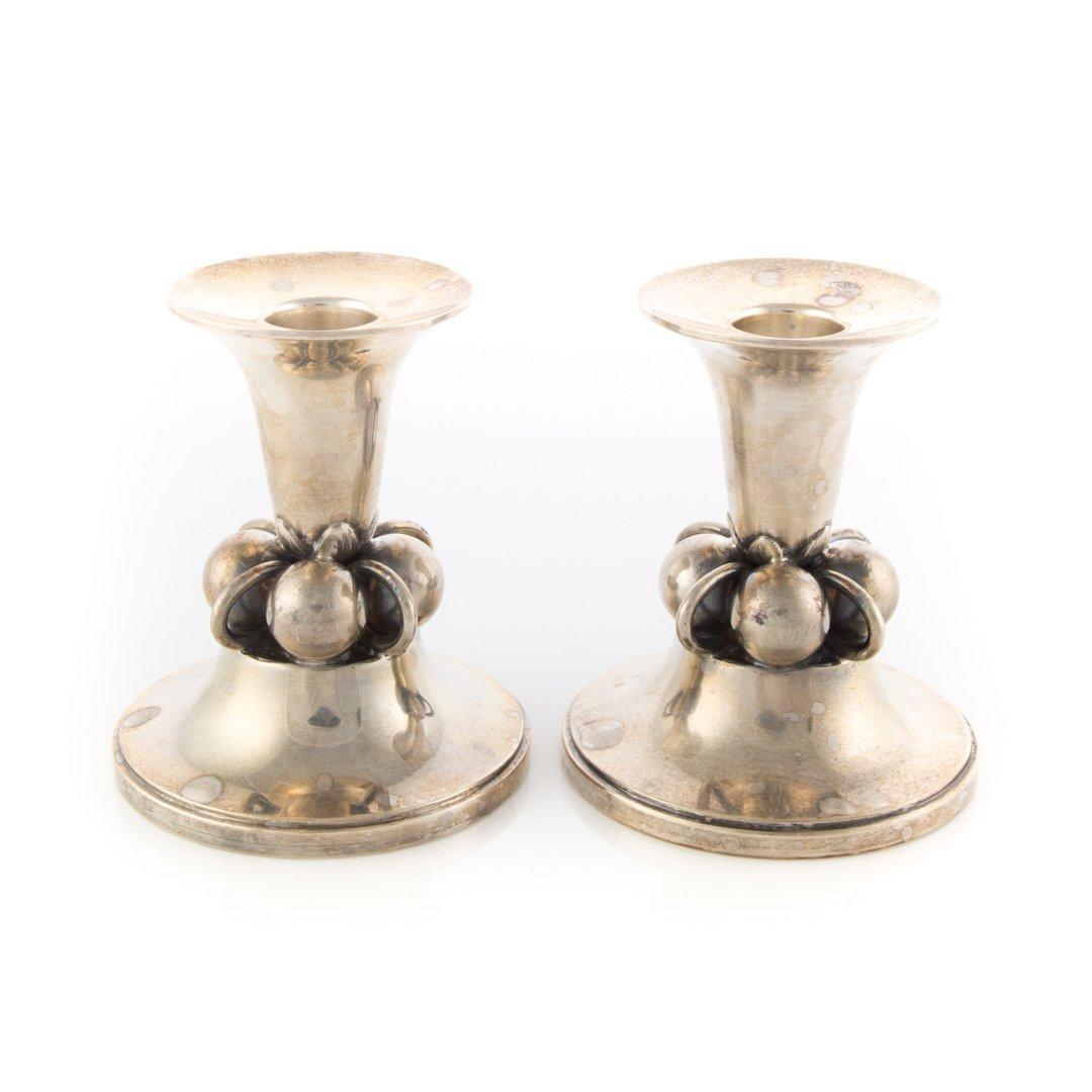 Pair Georg Jensen inspired sterling candlesticks