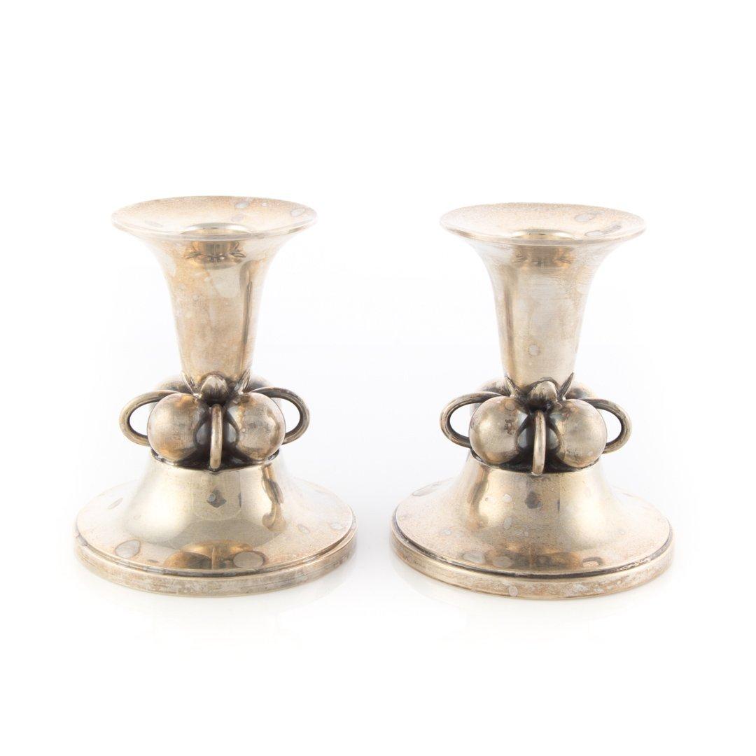 Pair Georg Jensen inspired sterling candlesticks - 2