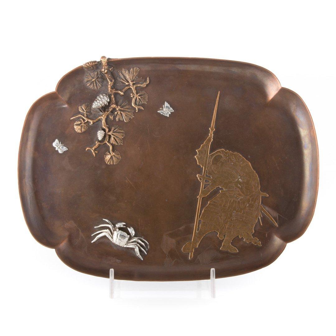 Gorham oriental style mixed metal tray c1881