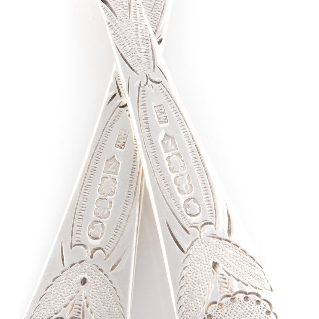 Beautiful pr Irish silver hand chased berry spoons - 4
