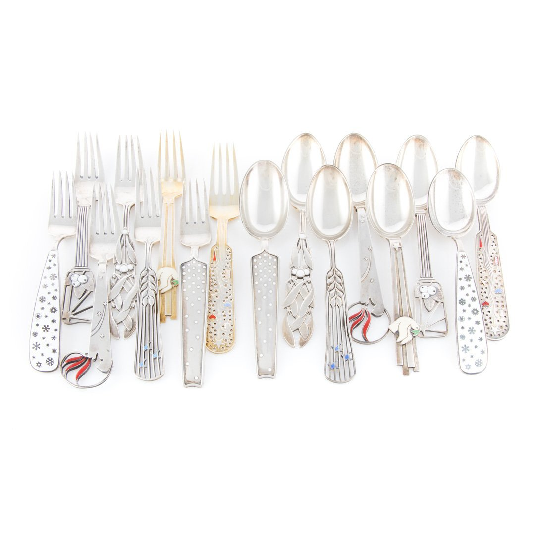 A Michelsen enameled sterling fork & spoon sets