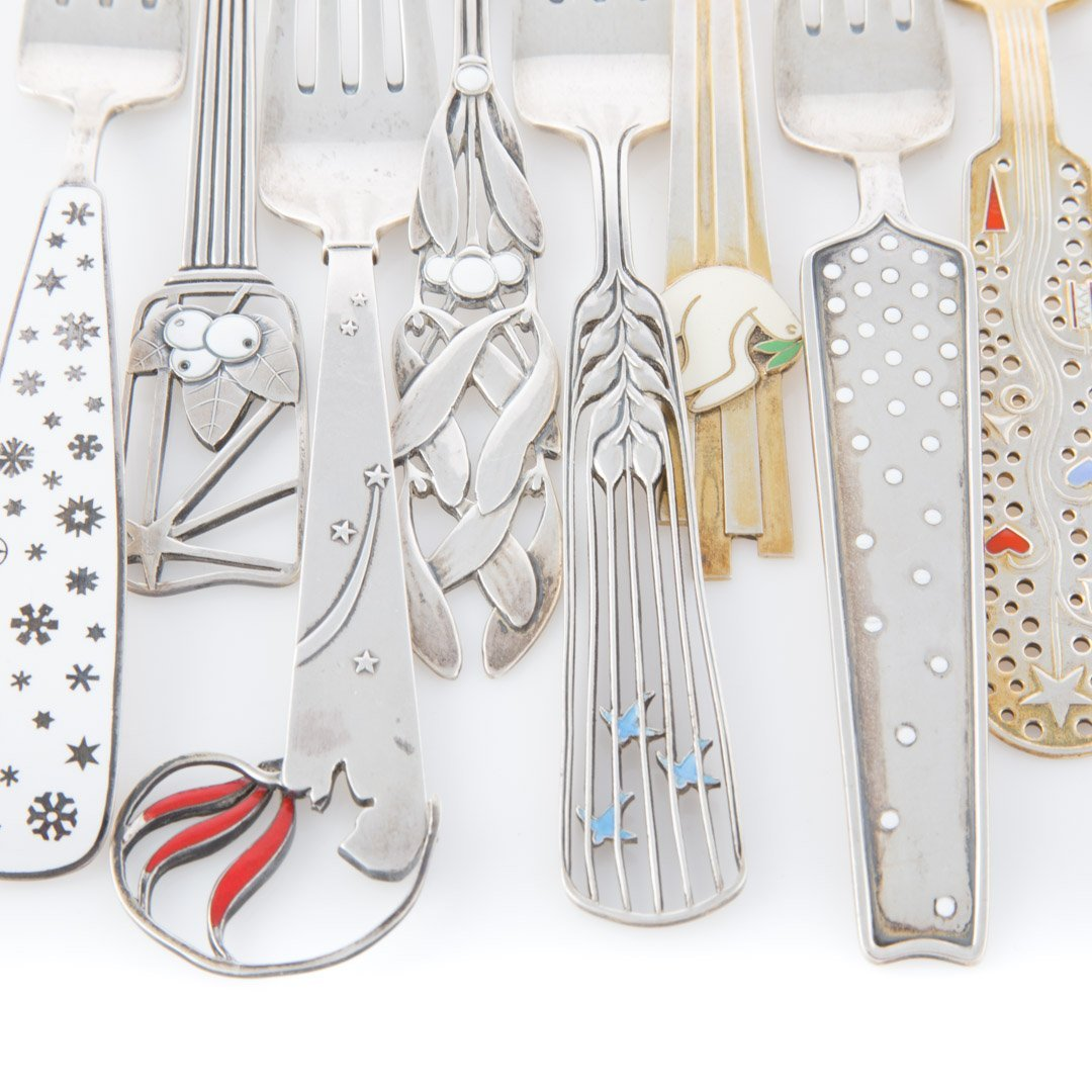 A Michelsen enameled sterling fork & spoon sets - 2