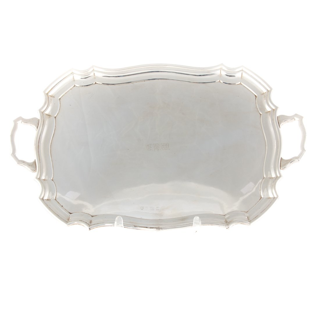 English sterling silver rectangular tray