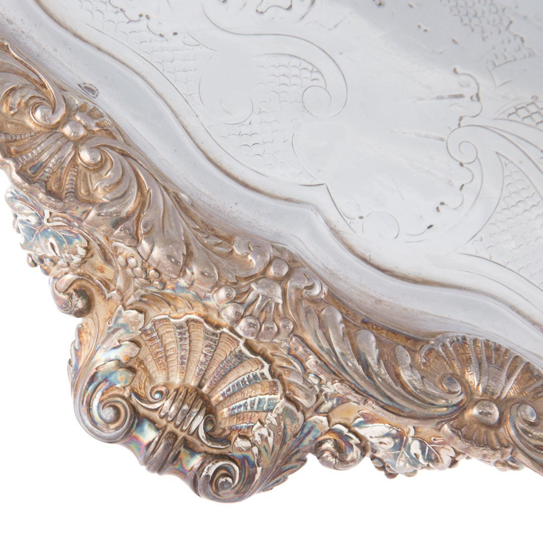 George IV sterling silver oval tray circa 1820 - 4