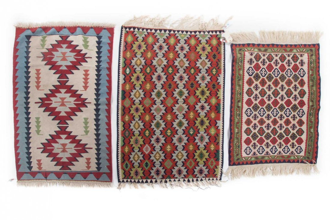 Three Turkish Kelim rugs, approx. 4 x 6 each
