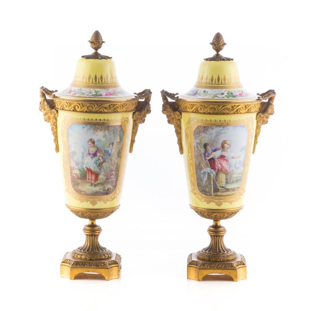 Pr. French metal-mounted jaune de porcelaine urns
