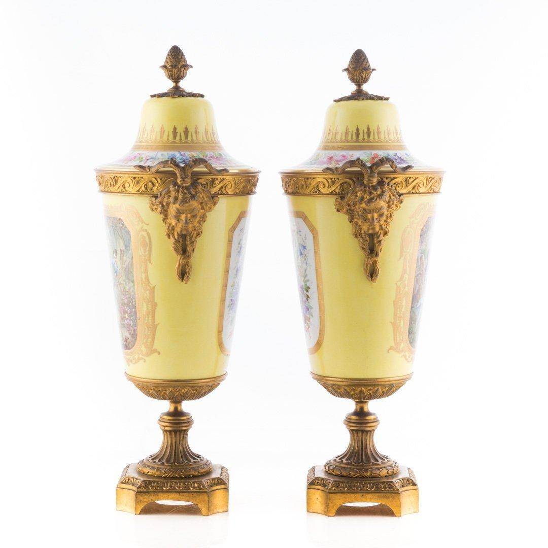 Pr. French metal-mounted jaune de porcelaine urns - 2