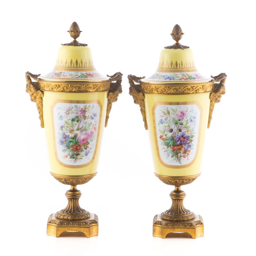 Pr. French metal-mounted jaune de porcelaine urns - 3