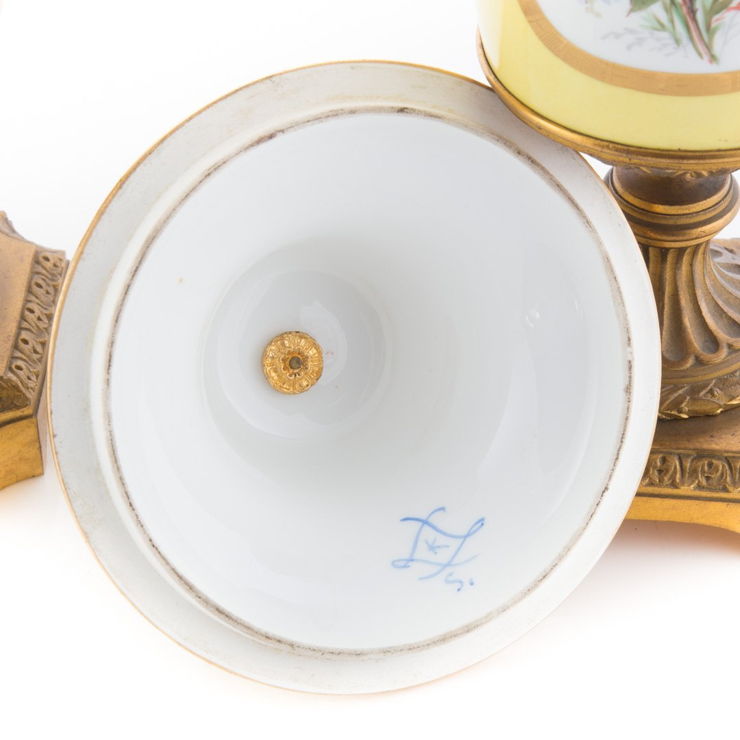 Pr. French metal-mounted jaune de porcelaine urns - 4