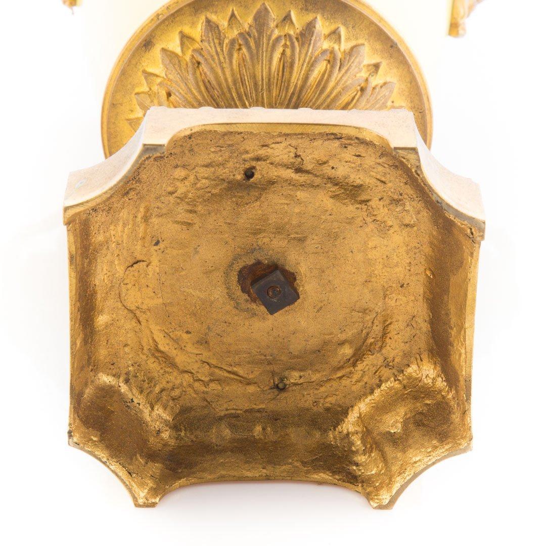 Pr. French metal-mounted jaune de porcelaine urns - 5