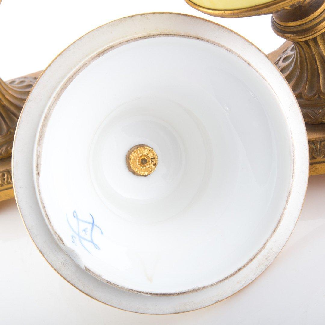 Pr. French metal-mounted jaune de porcelaine urns - 6
