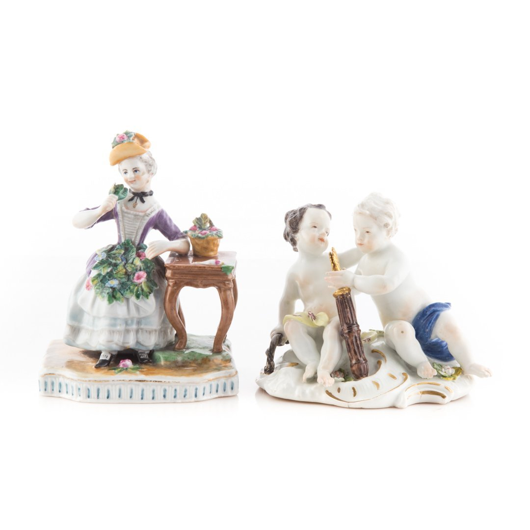 Two German porcelain figure groups