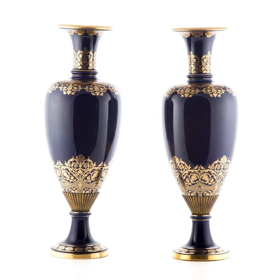 Pair Napoleon III bleu de roi porcelain marks