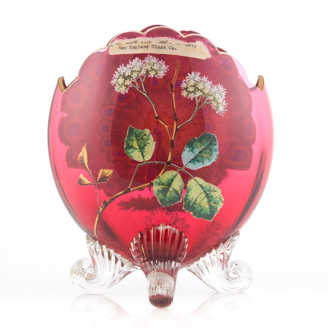 American ruby and coralene glass vase - 2