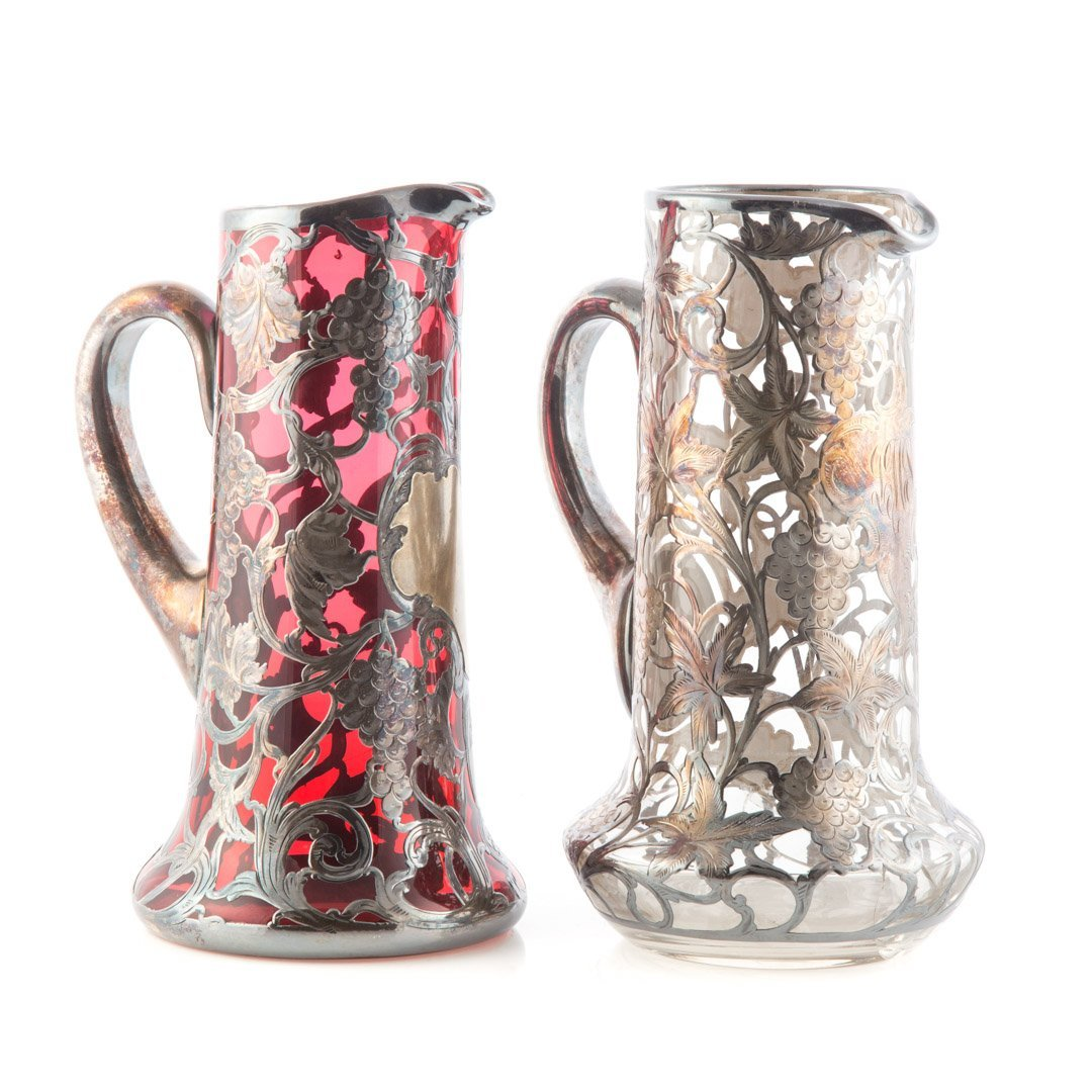 Two Victorian silver overlaid glass pitchers