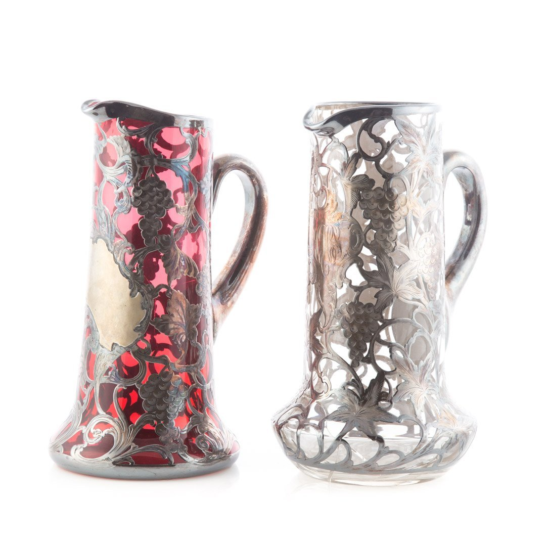 Two Victorian silver overlaid glass pitchers - 2