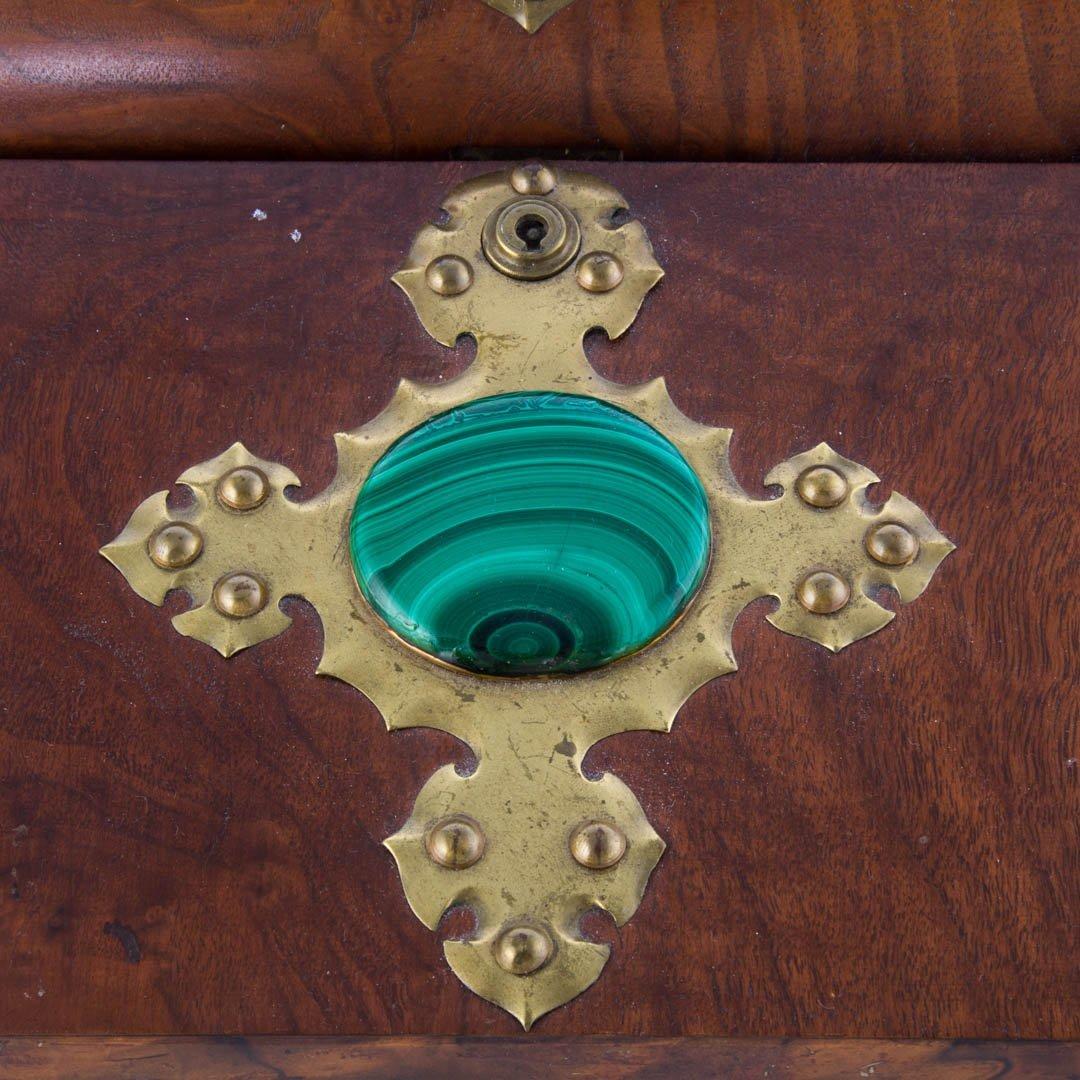 Russian brass-mounted burl walnut lap desk - 2