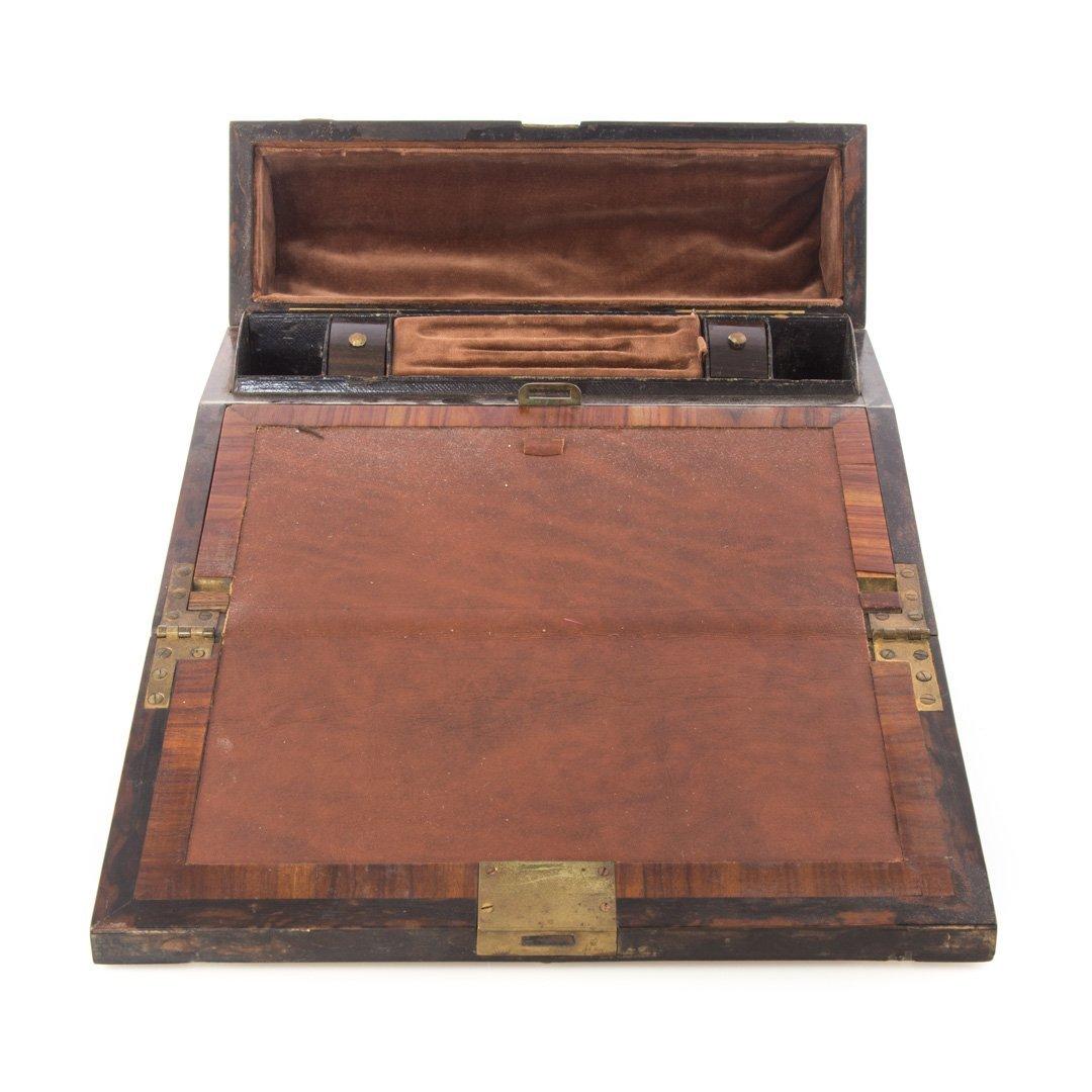 Russian brass-mounted burl walnut lap desk - 3