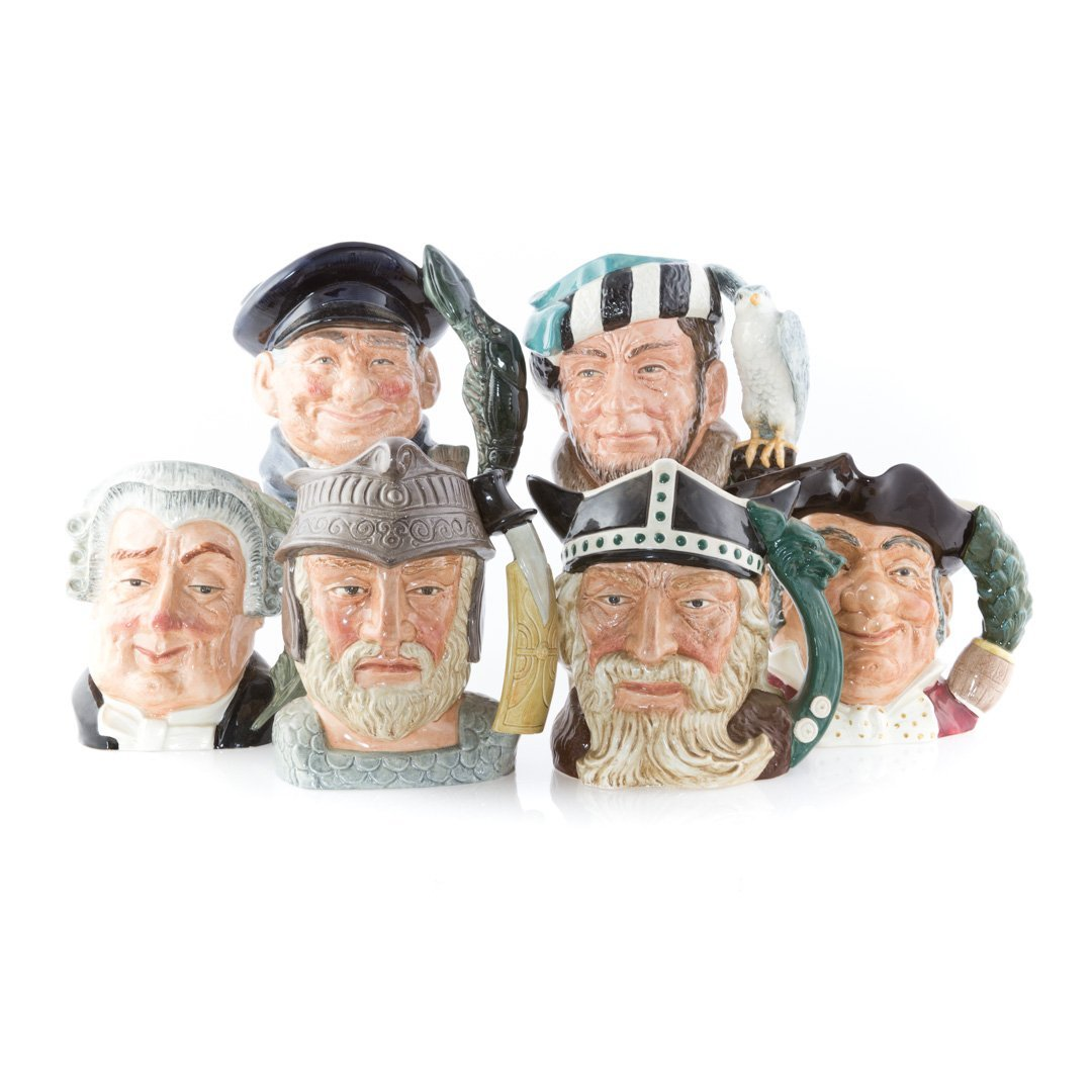 Six Royal Doulton china character mugs