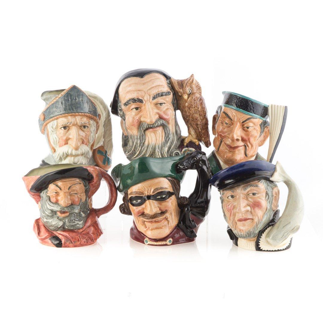 Six Royal Doulton china character jugs