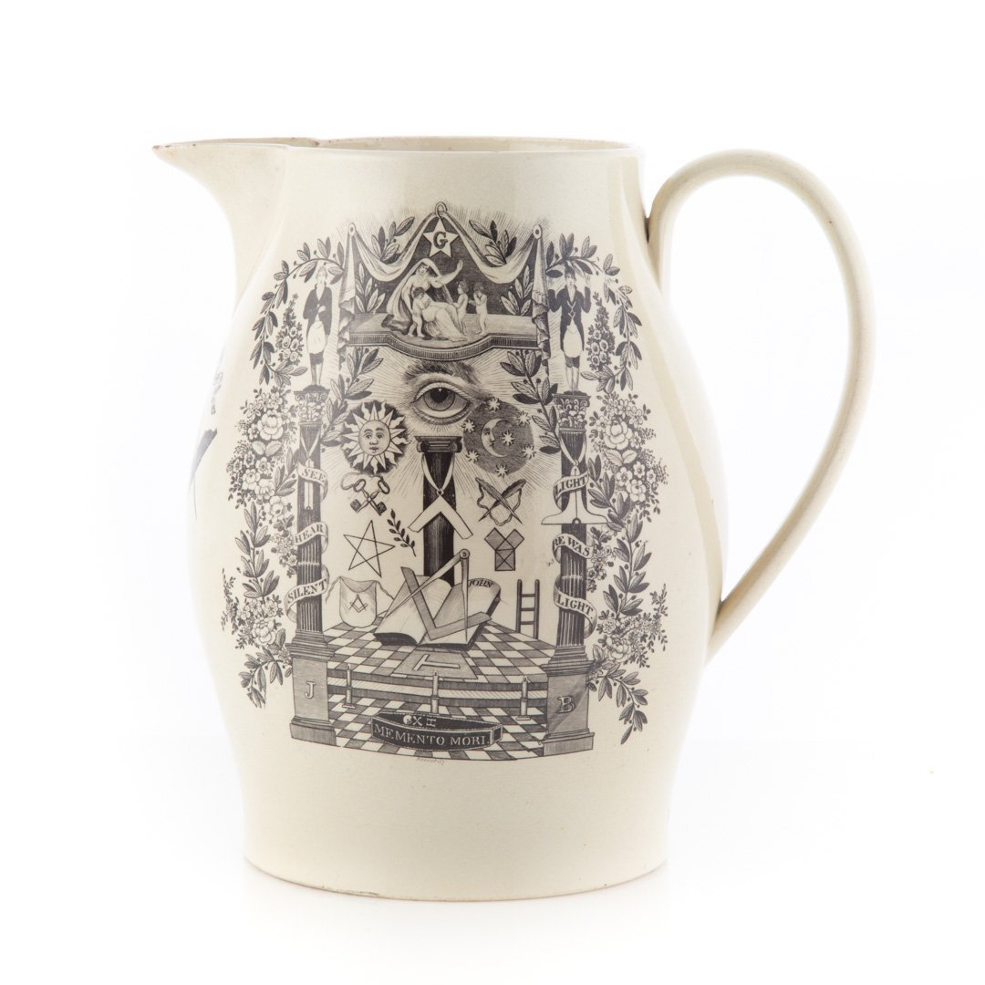 Liverpool creamware Masonic black transfer jug