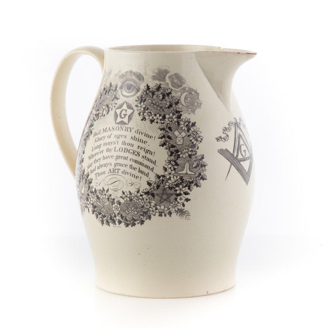 Liverpool creamware Masonic black transfer jug - 3