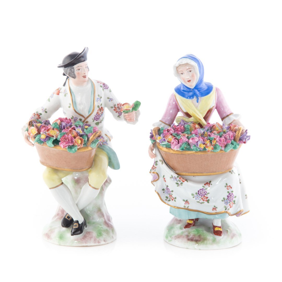 Pair French porcelain flower gatherer figures