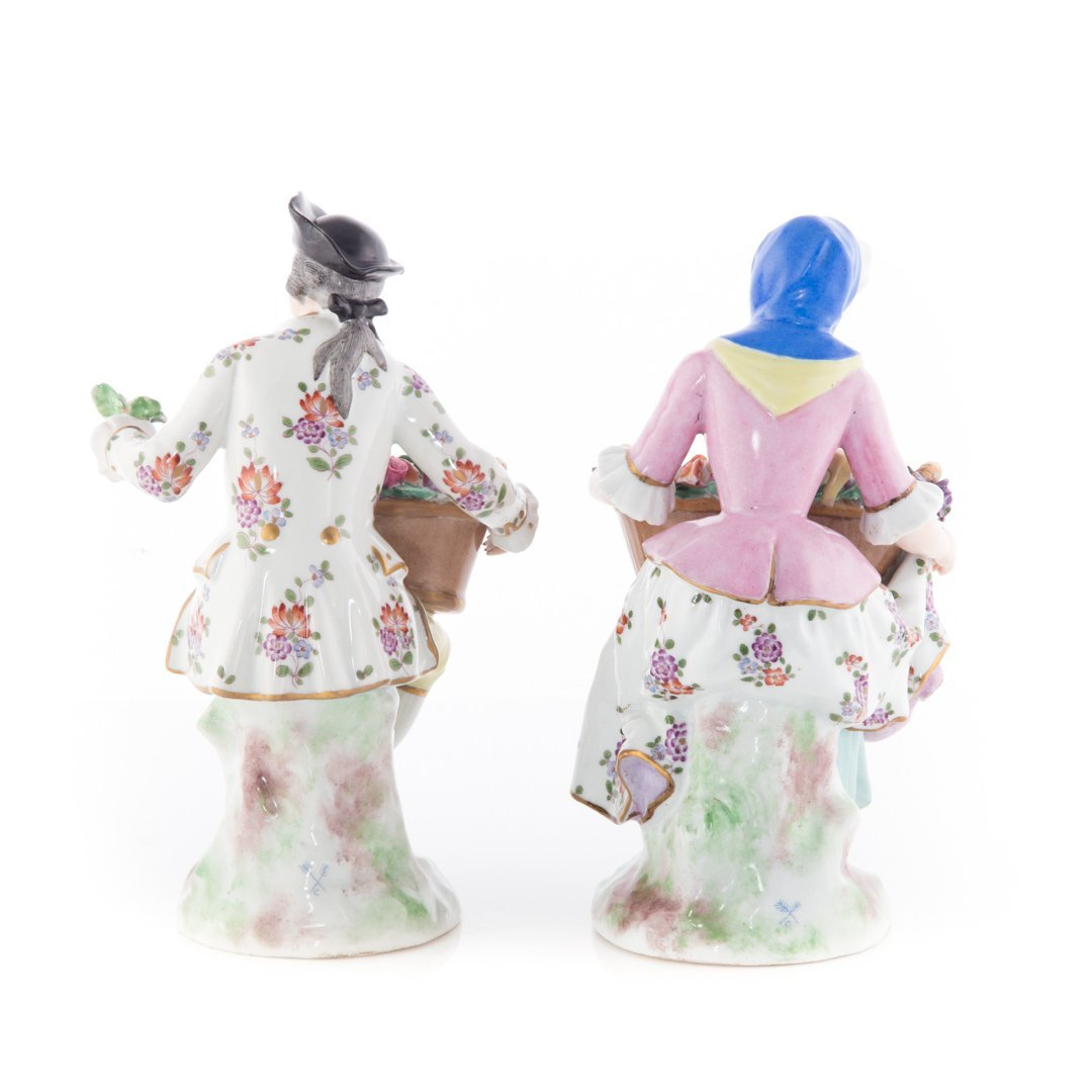 Pair French porcelain flower gatherer figures - 2