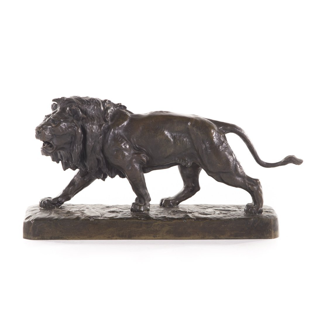 French patinated bronze stalking lion