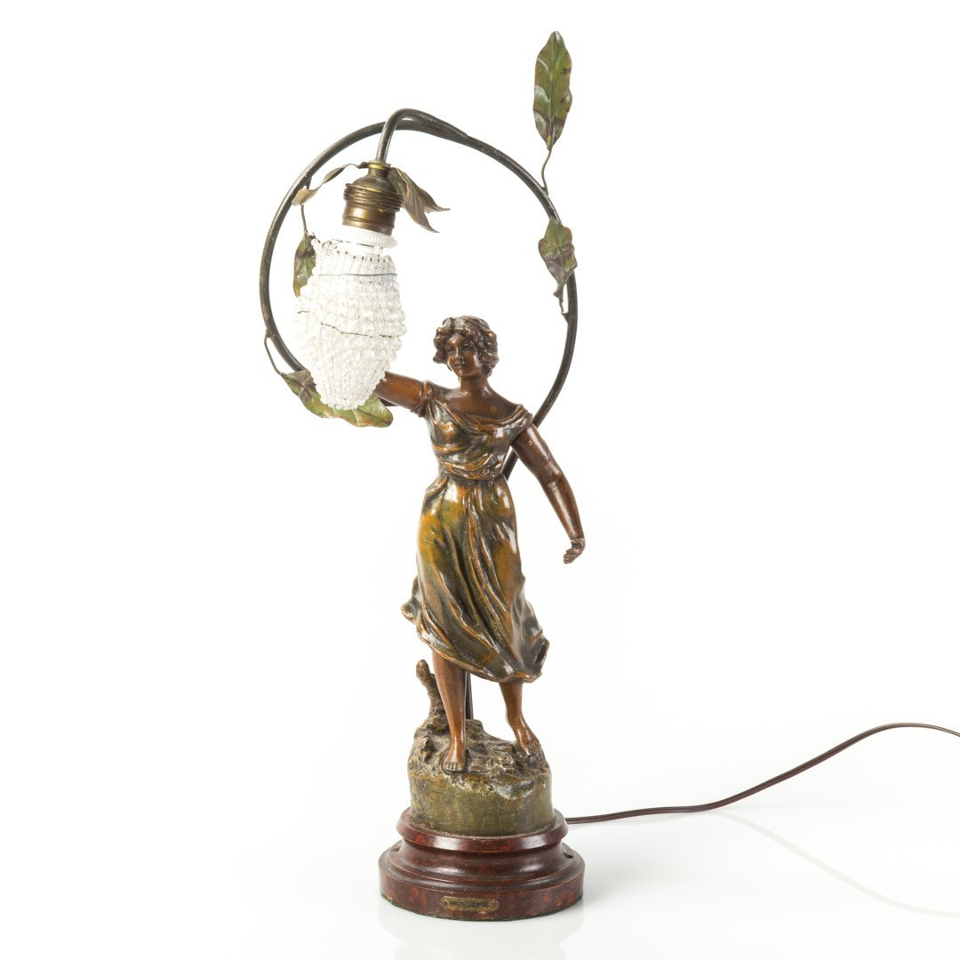O. Ruffony. Musique, patinated spelter lamp