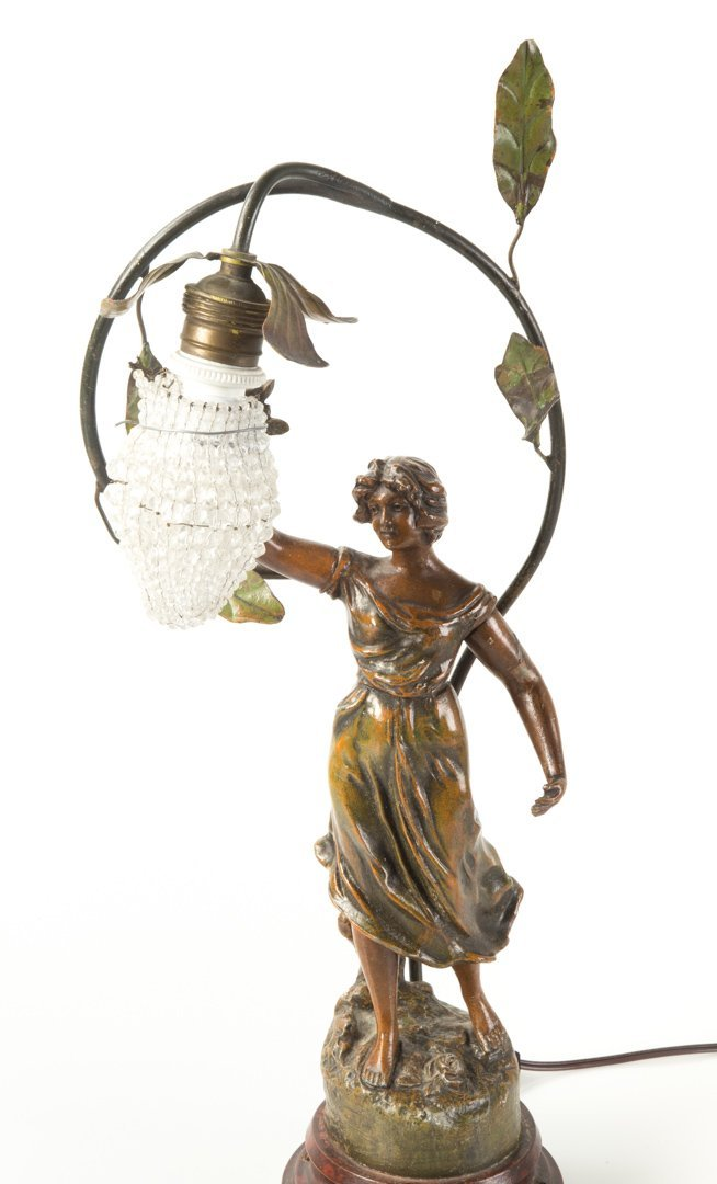 O. Ruffony. Musique, patinated spelter lamp - 2