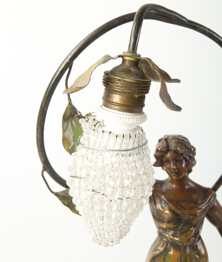O. Ruffony. Musique, patinated spelter lamp - 3