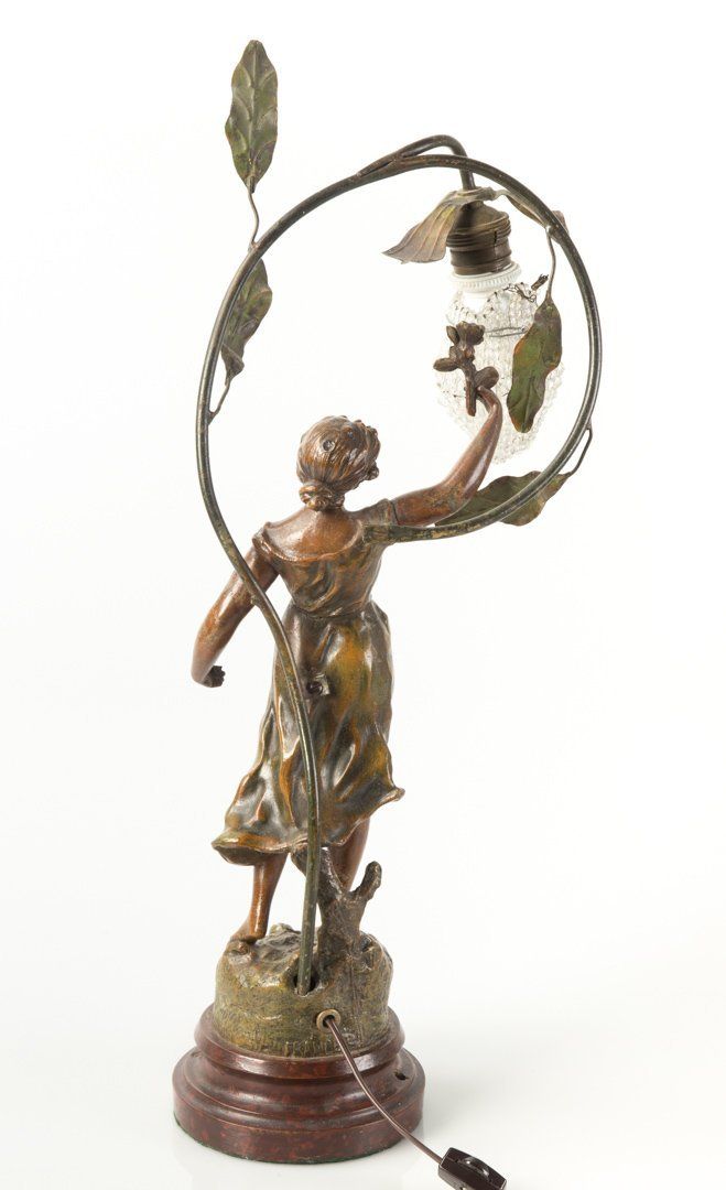 O. Ruffony. Musique, patinated spelter lamp - 4